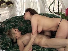 Don't even hesitate to check out this incredibly hot 21 Sextury xxx clip. Torrid brunette with flossy rounded ass seeks for orgasm. This fresh lesbian lets short haired old blondie eat her wet pussy right on the couch.