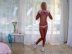 Alexia Sky is a hot blonde teen who is going to swap the candy stick for the meat stick and give a blowjob.