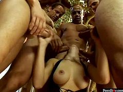 Gosh, I bet you've never seen such a voracious nympho, as this blond haired whore in Pornstar sex clip. She wears black transparent night and squats down to suck lots of delicious lollicocks for gooey sperm.