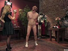 Aiden Starr is going to humiliate and spank this guy in this femdom session packed with bondage and torturing action.