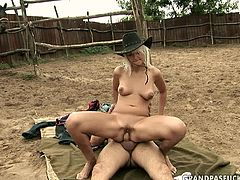 Frisky cowgirl chic inclines to meaty penis of horny chubby daddy to suck it zealously before she tops it for a ride in reverse cowgirl style in steamy sex video by 21 Sextury.