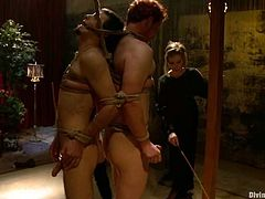 Aiden Starr and Maitresse Madeline are going to strapon fuck two guys in this pegging and femdom session packed with bondage and torturing action.