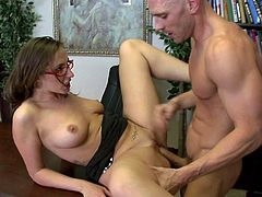 Horny secretary bangs her boss