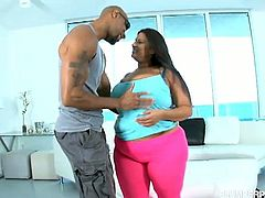 Luscious latina BBW with massive natural tits gets down and dirty with black stud in this wild interracial scene. Babe flaunts her huge breasts, gives head and