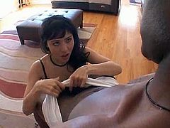 Just have a look at amazing transformation from modest Asian nerd in glasses into a hot slutty and cock hungry nympho. Kinky brunette in stockings doesn't waste time. She kneels down to provide a strong long black dick with a stout blowjob for gooey sperm.