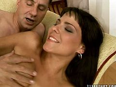 Beautiful young brunette gets fucked by old dude
