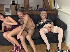 Cum inside and check out this super nasty porn tube as this hony old lady gets down and dirty with a hot brunette and her old hubby, bizarre and hot at the same time.