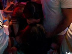 Very horny party sluts dancing erotically and fucking in a sexual orgy in club