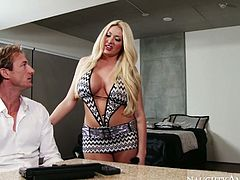Summer Brielle is voluptuous MILF with huge fake boobs and rounded ample booty. She is wearing outright dress looking hell seductive. She seduces Ryan Mclane acting kinky and naughty. Check out this steamy sex video featuring worldwide known porn actors.