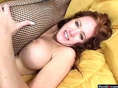 Hawt mature bitch wearing fishnet stockings gets her snatch fucked by two studs at the same time. She looks adorable and sextractive. Watch her for free.