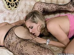 Sex-starved mature woman spreads her legs wide to let this young slut finger her big pussy. Check out this passionate lesbian sex scene now and get ready to cum.