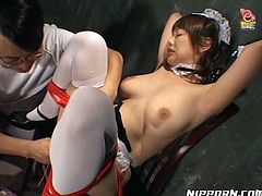 Horny dude ties up and fixes slutty Japanese maid with ropes. This girlie in short dress is covered with cream and gets her hairy pussy pleased with sex toys right in the prison cell. You just need to see this weird but hot Pornstar sex clip to jizz all over the place.