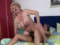 21 Sextury xxx clip provides you with two horny lesbians. Slim brunette with small tits wears strapon and makes fat old blondie ride it passionately to get her hairy cunt polished properly.
