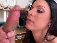 Seductive MILF India Summer munches on a massive boner before receiving it down her dripping wet twat