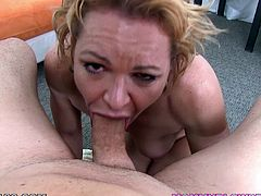 Deep blowjob makes this blonde milf to gag and choke with this large dick