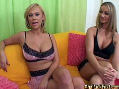 These two blonde lesbians are ready to turn all your dirty dreams into reality. They prefer threesome scenes and hardcore group orgies. Watch them for free.