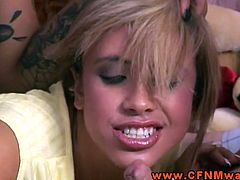 Check out these horny CFNM sluts dominating a lucky dude. The blonde shows awesome oral skills and sucks his cock for a huge facial!