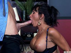 Insolent brunette with big tits gets a huge cock deep into her cunt in hardcore scene