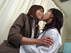 Alluring japanese babes are having a great time licking and swallowing cum