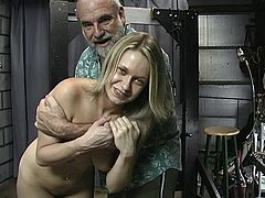 Horny old guy likes dominating and punishing young blonde in naughty BDSM porn scene