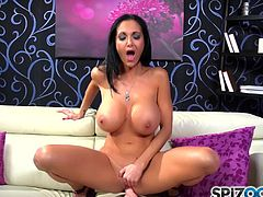 Adorable brunette Ava Addams loves to shake her big tits while deep stimulating that cunt
