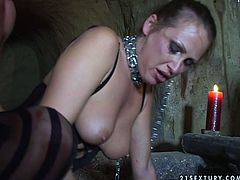 Hussy jade is looking trashy wearing black tight corset and stockings. She gets nailed hard doggy style in the beginning of the video. Then she gets her cunt fingered and fisted bad. The pleasure and delight makes her cry.