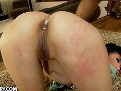 Yiki has her ass hole drilled to the limit by a black guy with a very generous cock, which also fits in her throat.