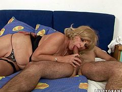 This shameless mature woman is a super qualified trollop! She takes her lover's dick in her mouth and sucks it greedily as if her life depends on it. Then she licks his butthole fervently to make his dick hard and ready. She spreads her legs wide to let him pound her twat in missionary position.