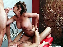Raquel DeVine is a perfect babe for threesome coition. Her big juicy jugs are everything your lust desires. Watch her juicy fake tits bouncing in cowgirl style position.