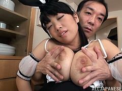 Slutty Satou wears her bunny ears and feels very naughty. She sits on the knees of this guy just like a good girl and enjoys what he does with her big, delicious breasts. Yeah this bunny loves it and surely she deserves a lot of cum on them. What will he do after finishing sucking those sweet nipples?