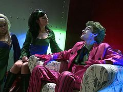 Batman and Robin are on a quest to find the evil Joker but he doesn't gives a shit about that because these two sluts are sucking his cock. One brunette and the other one blonde both of the babes are sharing the same thing in common, their lust for Joker and his hard cock. Stay tuned for more action!