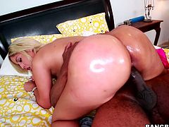 Bridgette B is a blonde girl with big ass and boobs. She sucks big black cock and gets her tits licked. Then she gets her pussy destroyed by a Black dude.