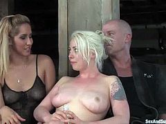 Please, enjoy this hot BDSM threesome sex with two delightful bloodies Isis Love and Lorelei Lee. One of them is a sex slave and the other chick makes her stun together with this man!