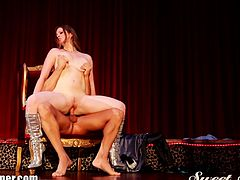 Watch this hot sexy redhead stripper seducing a handsome man, after the strip club is closed.She does a private lap-dance for him and than sucks his fat cock and rides it hard.