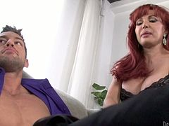 Pretty girl with appetizing tits doesn't mind sharing her BF's cock with horny mom. So she is facesitting the guy while mature mommy is sucking dick deepthroat. Kinky porn video presented to you by Fame Digital.