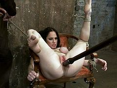 The legs of Scarlet Faux will be tied in a way they are opened wide so her pussy is exposed for a severe toying session.