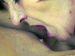 Tasty looking blond chic makes out with an immense grey-haired mature BBW in steamy lesbian sex video. She goes down to her hairy vagina to tongue fuck it zealously before they switch the roles and she is the one who welcomes a tongue fuck of her delicious bald cunt.