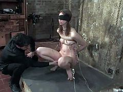Alluring brown-haired chick Kristine is playing dirty games with Maestro. The man ties the babe up, beats her and then fucks her palatable pussy deep and hard.