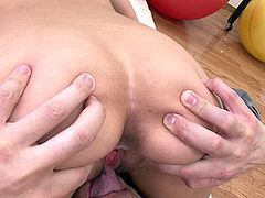This Japanese girl manages to have her cunt gaped so perfectly it creates a perfectly round hole for a cock to enter. One man pushes two fingers inside her, numerous times, and then flicks her pussy lips. After she's fingered, she sucks one guy while wanking the other.