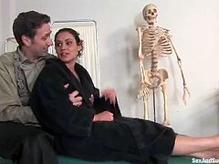 Petite and sexy siren Charly comes for the help pf his doc and her cures her in some BDSM fantasies. then eh bangs that twat and cums on it!