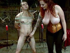 Berlin is a devilish mistress. She kneels in front of the guy and grabs him by the nuts. The whore has some very special plans with him and she begins by using some clamps on his balls. Then, the mean redhead puts clamps on his nipples and rubs his cock. She decides it's time for some pleasure too and sucks him.