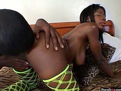 Dark-skinned trollop Lady Armani always gets what she wants. She spreads her legs wide indicating how bad she wants her lover to eat her snatch. He licks it passionately like a true cunt licker and then he pounds her twat mercilessly in missionary position.