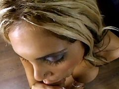 Jaw dropping blond MILF Carmel Moore brags with her mind taking body and juicy round ass before she goes down on her knees in front of horny dude to give him a zealous blowjob in pov.