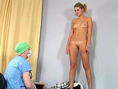 This dirty doctor examines a very young patient. He checks all her body parts after he tells her to get naked. She is shy, but she does what he tells her to do.