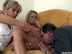 Parents caught this blonde naked and seduced her into having a threesome with them while their son was away.