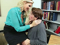 BBW sexpot Julia Ann is sexually charged MILF. She is true cock hunter so she seduces her student after lessons. Today, Tyler Nixon is her favorite. So she sucks his dick deepthroat. Then she lets him eat her soaking wet pussy.