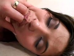 Steamy brunette hottie gets her bald cunt nailed hard from behind in sideways position before she welcomes stiff cock in her mouth for blowjob. Later she keep getting pounded doggy style in sultry sex video by Pornstar.