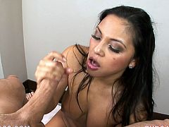 The ASian chick called Adriana Luna (not a really Asian name no?) is going to get her throat drilled with cock and also do some face sitting on this dude.