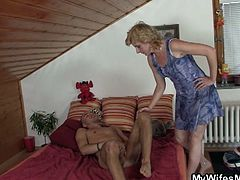 Check out this horny blonde mature having some fun with her son-in-law. He was fucking a doll, but the old whore decided to give up her pussy!