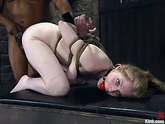 Haley Scott is the kinky blonde who is going to get dominated in this interracial bondage session packed with rough hardcore sex by a black cock.